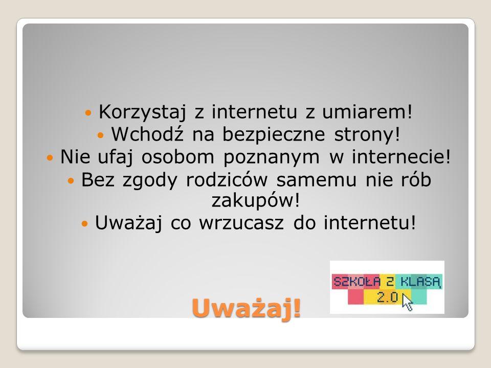 Uważaj! Korzystaj z internetu z umiarem! Wchodź na bezpieczne strony! Nie ufaj osobom poznanym w internecie! Bez zgody rodziców samemu nie rób zakupów