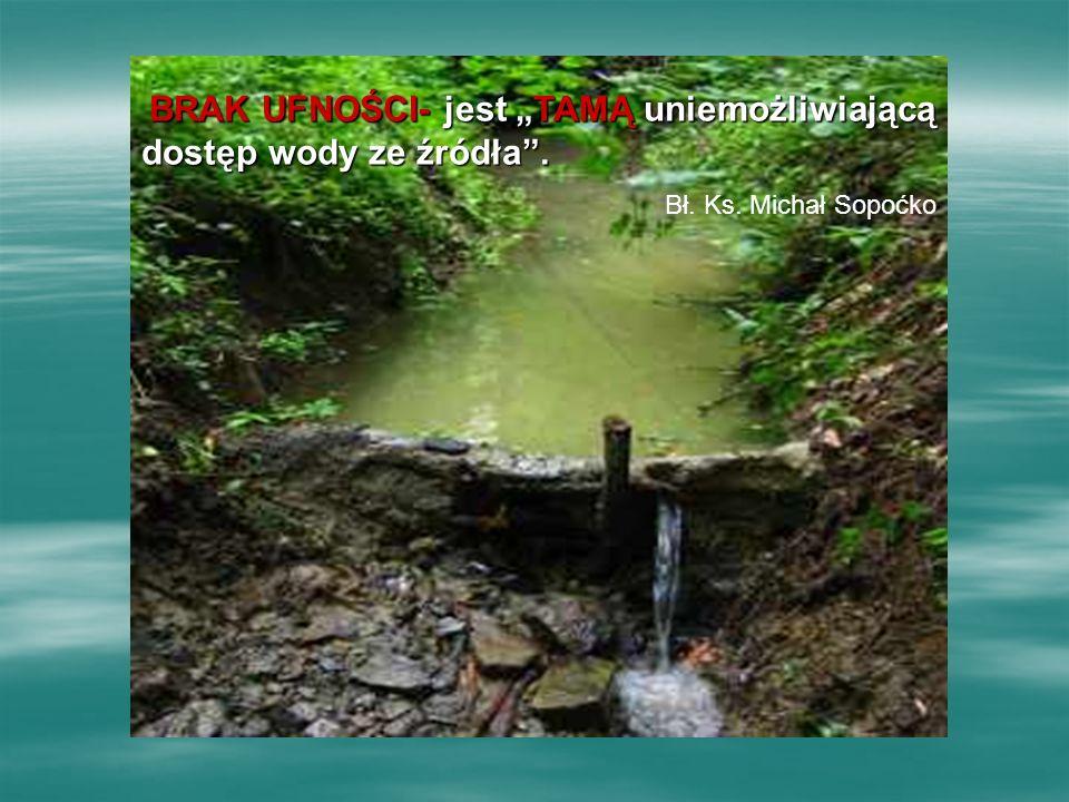 """BRAK UFNOŚCI- UFNOŚCI- jest """"TAMĄ """"TAMĄ uniemożliwiającą dostęp wody ze źródła ."""