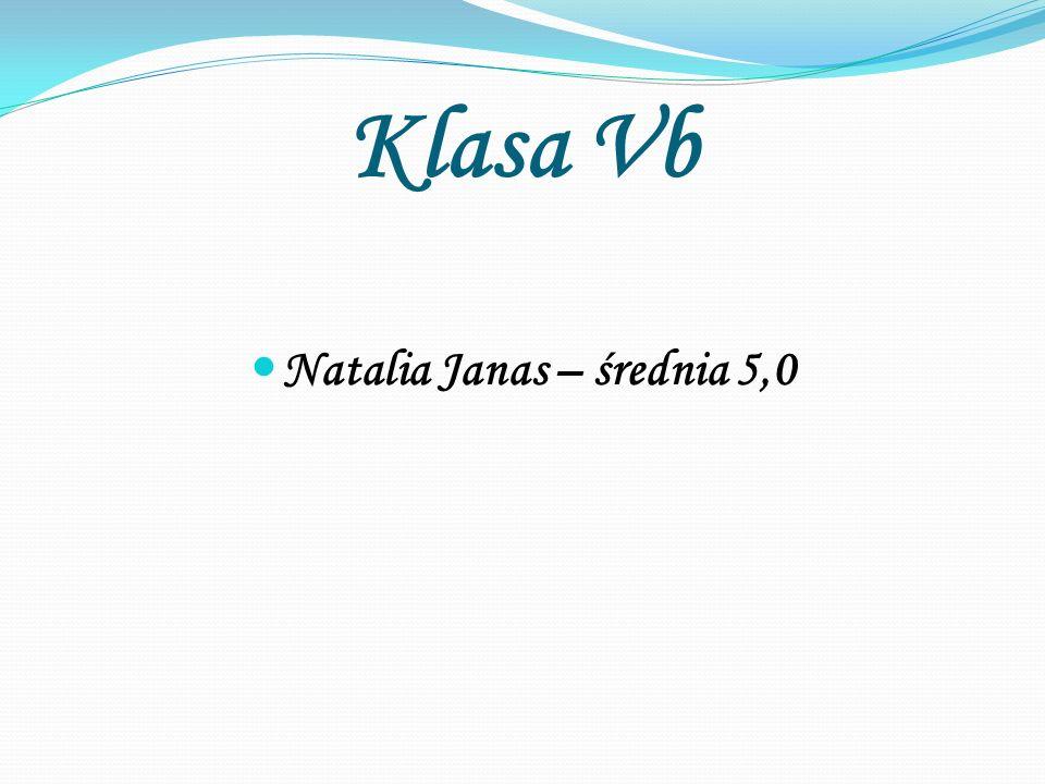 Klasa Vb Natalia Janas – średnia 5,0