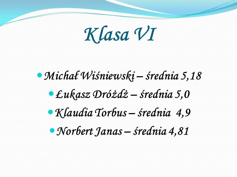 Klasa VI Michał Wiśniewski – średnia 5,18 Łukasz Dróżdż – średnia 5,0 Klaudia Torbus – średnia 4,9 Norbert Janas – średnia 4,81