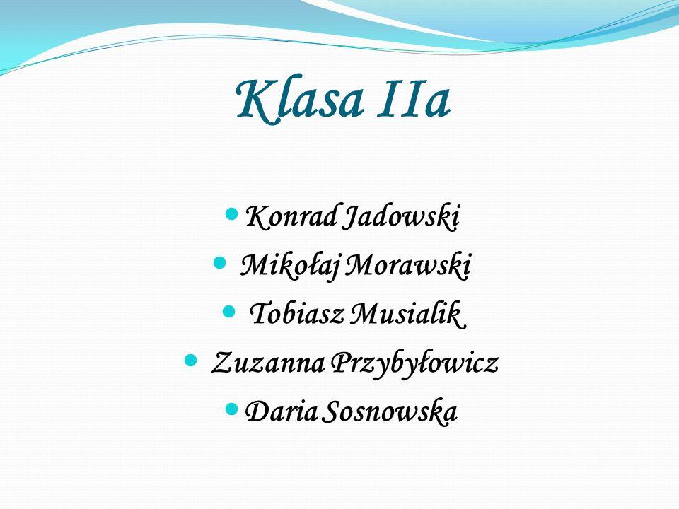 Klasa IIa Konrad Jadowski Mikołaj Morawski Tobiasz Musialik Zuzanna Przybyłowicz Daria Sosnowska