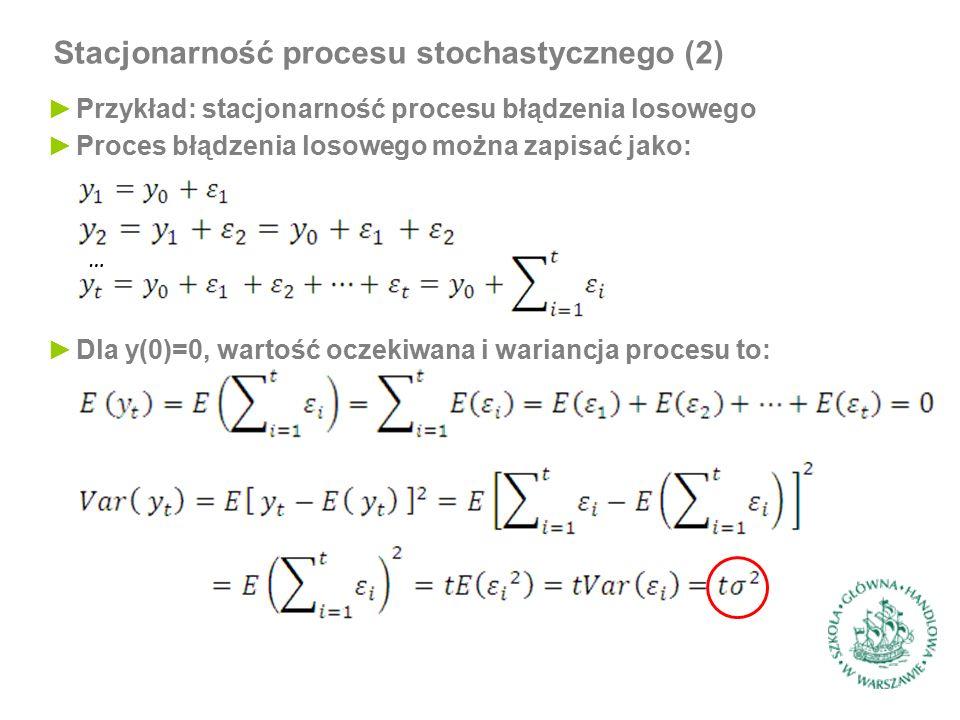 Stacjonarność procesu stochastycznego (2) ►Przykład: stacjonarność procesu błądzenia losowego ►Dla y(0)=0, wartość oczekiwana i wariancja procesu to: