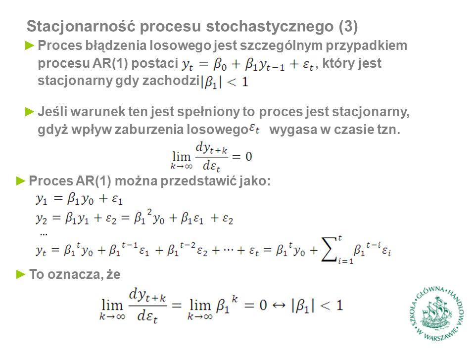 Stacjonarność procesu stochastycznego (3) ►Proces błądzenia losowego jest szczególnym przypadkiem procesu AR(1) postaci, który jest stacjonarny gdy za
