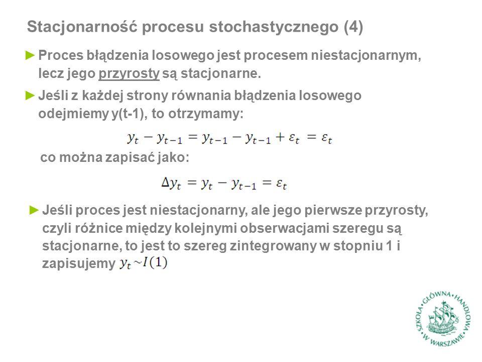 Stacjonarność procesu stochastycznego (4) ►Proces błądzenia losowego jest procesem niestacjonarnym, lecz jego przyrosty są stacjonarne. ►Jeśli z każde