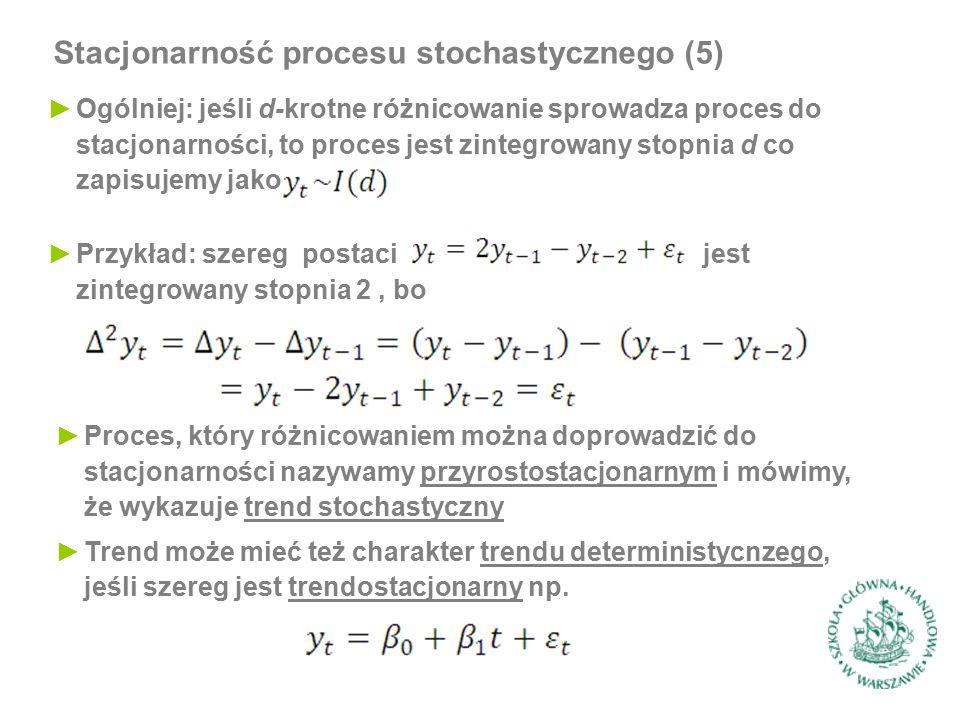 Stacjonarność procesu stochastycznego (5) ►Ogólniej: jeśli d-krotne różnicowanie sprowadza proces do stacjonarności, to proces jest zintegrowany stopn