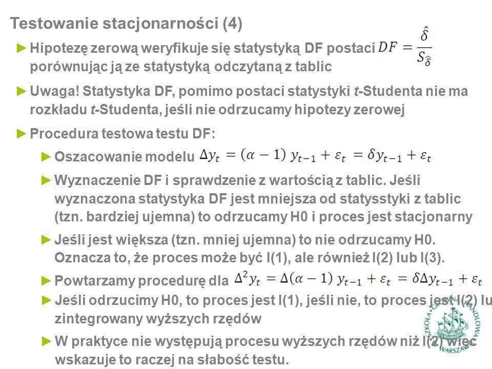►Hipotezę zerową weryfikuje się statystyką DF postaci porównując ją ze statystyką odczytaną z tablic Testowanie stacjonarności (4) ►Procedura testowa