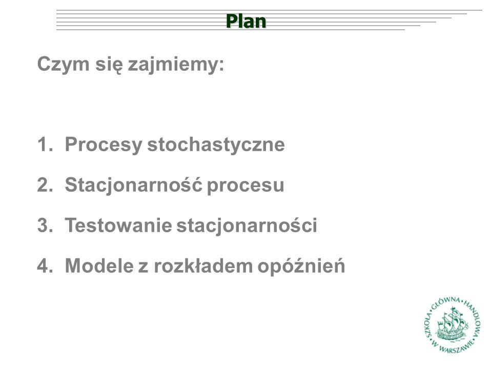 Plan Czym się zajmiemy: 1.Procesy stochastyczne 2.Stacjonarność procesu 3.Testowanie stacjonarności 4.Modele z rozkładem opóźnień