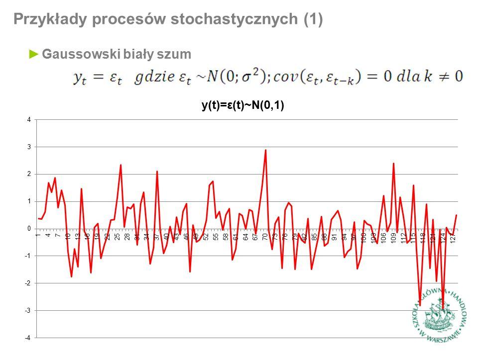 Testowanie stacjonarności (1) ►Testowanie na podstawie funkcji autokorelacji (ACF – autocorrelation function) procesu postaci: ►Dla białego szumu wartości ACF są równe 0 dla każdego k, zaś dla procesu błądzenia losowego są równe 1 ►Dla procesu AR(1) można pokazać, że ►Dla szeregu czasowego będącego realizacją procesu funkcja przyjmuje postać: ►Jeśli wartości ACF zaczynają się od ok.