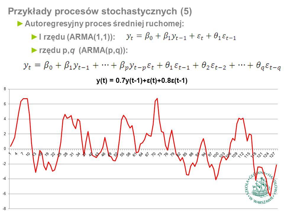 Przykłady procesów stochastycznych (5) ►Autoregresyjny proces średniej ruchomej: ►I rzędu (ARMA(1,1)): ►rzędu p,q (ARMA(p,q)):