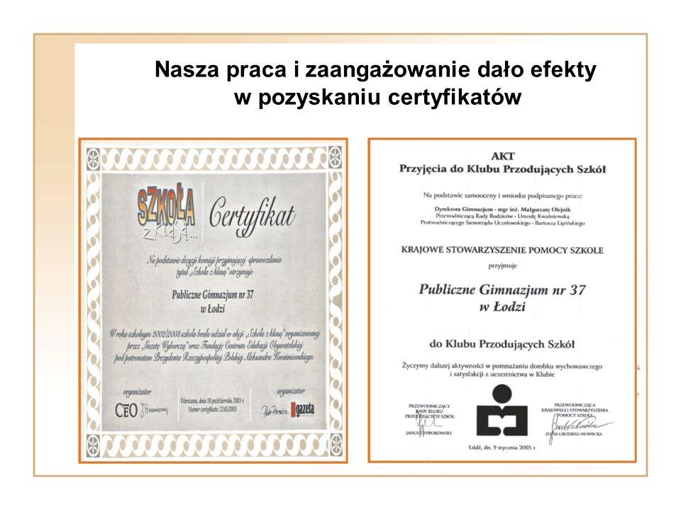Nasza praca i zaangażowanie dało efekty w pozyskaniu certyfikatów