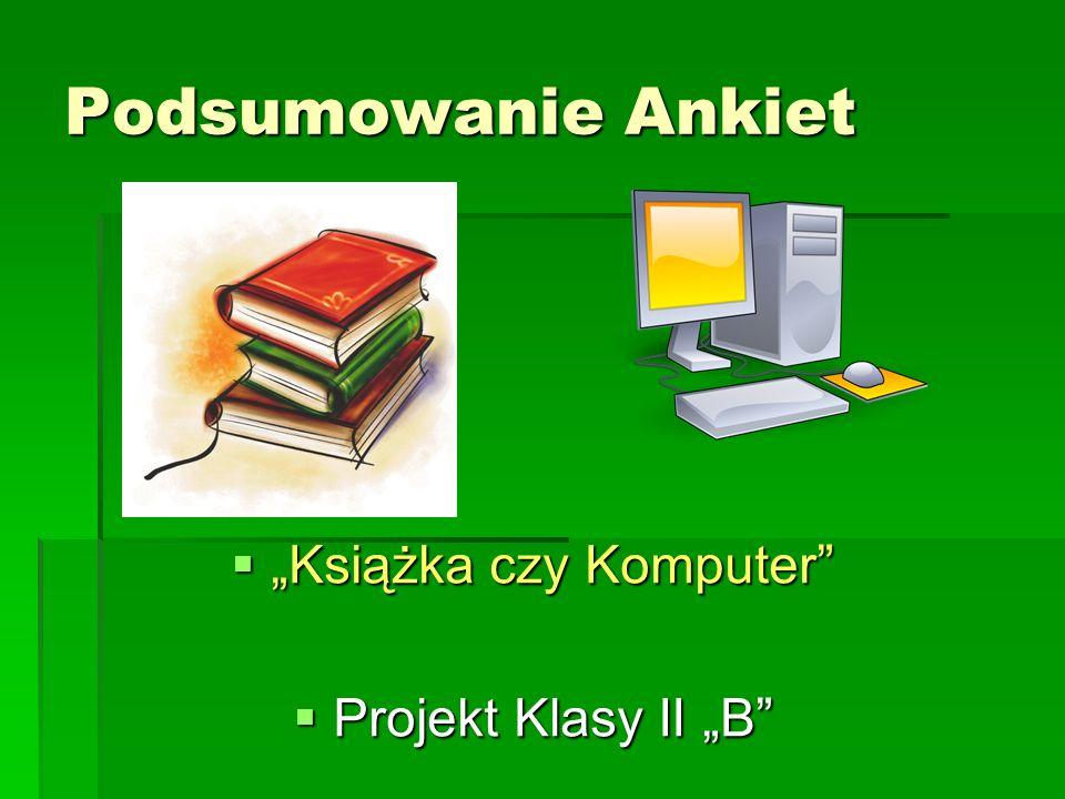 """Podsumowanie Ankiet  """"Książka czy Komputer  Projekt Klasy II """"B"""