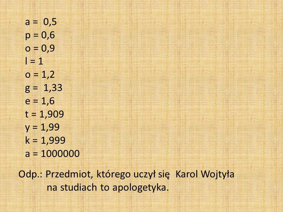 a = 0,5 p = 0,6 o = 0,9 l = 1 o = 1,2 g = 1,33 e = 1,6 t = 1,909 y = 1,99 k = 1,999 a = 1000000 Odp.: Przedmiot, którego uczył się Karol Wojtyła na st