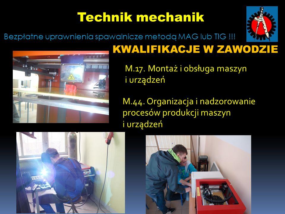 *Technik mechanik - to specjalista w zakresie projektowania, konstruowania, budowy, eksploatacji maszyn i urządzeń mechanicznych.