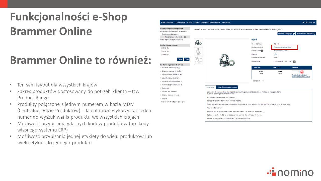 Funkcjonalności e-Shop Brammer Online Brammer Online to również: Ten sam layout dla wszystkich krajów Zakres produktów dostosowany do potrzeb klienta – tzw.