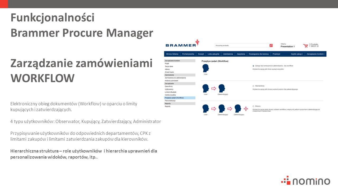 Funkcjonalności Brammer Procure Manager Zarządzanie zamówieniami WORKFLOW Elektroniczny obieg dokumentów (Workflow) w oparciu o limity kupujących i zatwierdzających.