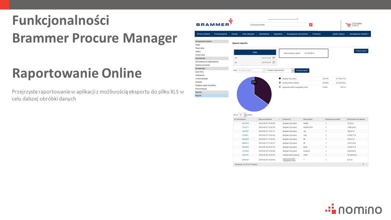 Funkcjonalności Brammer Procure Manager Raportowanie Online Przejrzyste raportowanie w aplikacji z możliwością eksportu do pliku XLS w celu dalszej obróbki danych