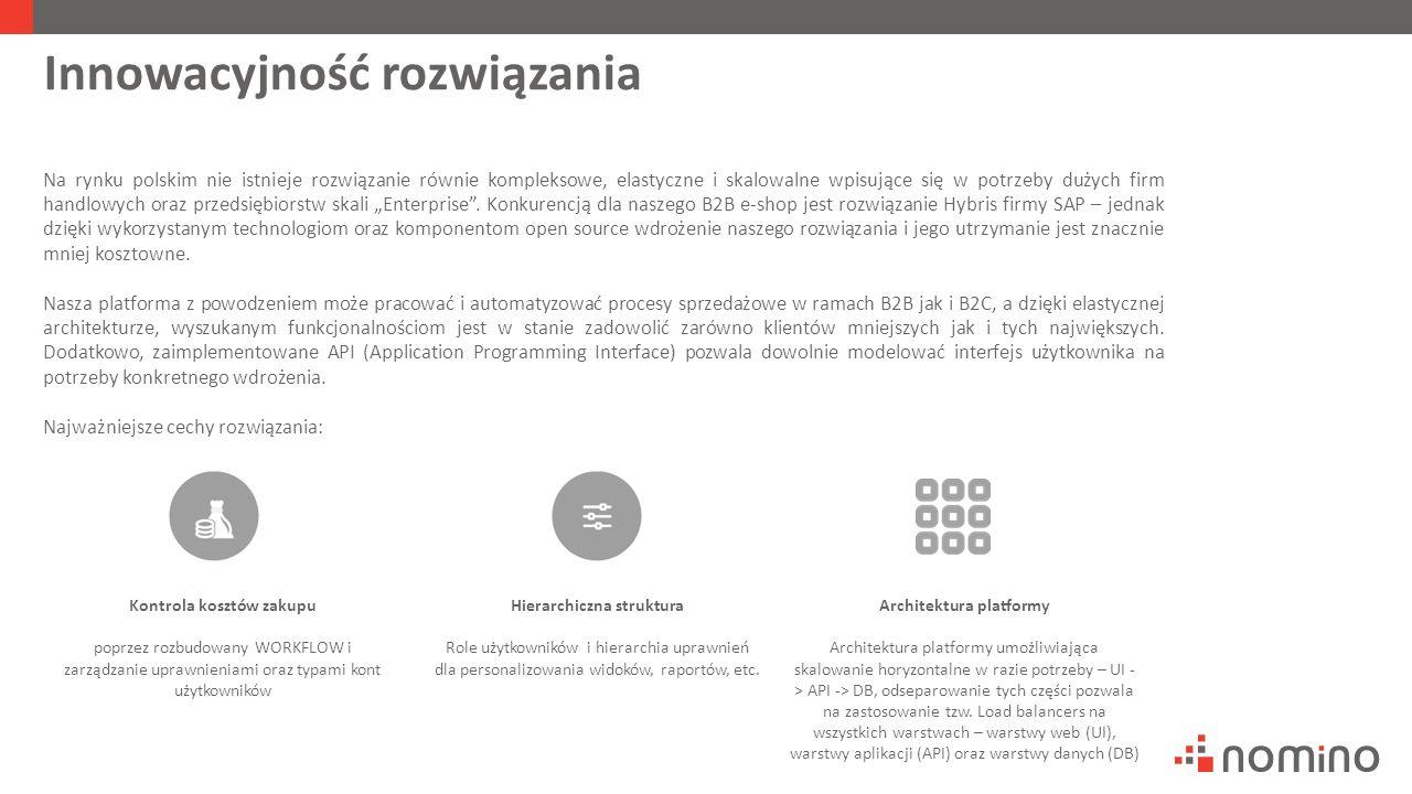"""Innowacyjność rozwiązania Na rynku polskim nie istnieje rozwiązanie równie kompleksowe, elastyczne i skalowalne wpisujące się w potrzeby dużych firm handlowych oraz przedsiębiorstw skali """"Enterprise ."""