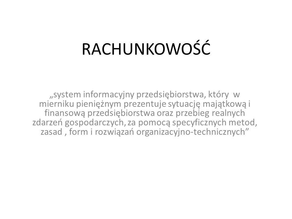 """RACHUNKOWOŚĆ """"system informacyjny przedsiębiorstwa, który w mierniku pieniężnym prezentuje sytuację majątkową i finansową przedsiębiorstwa oraz przebi"""