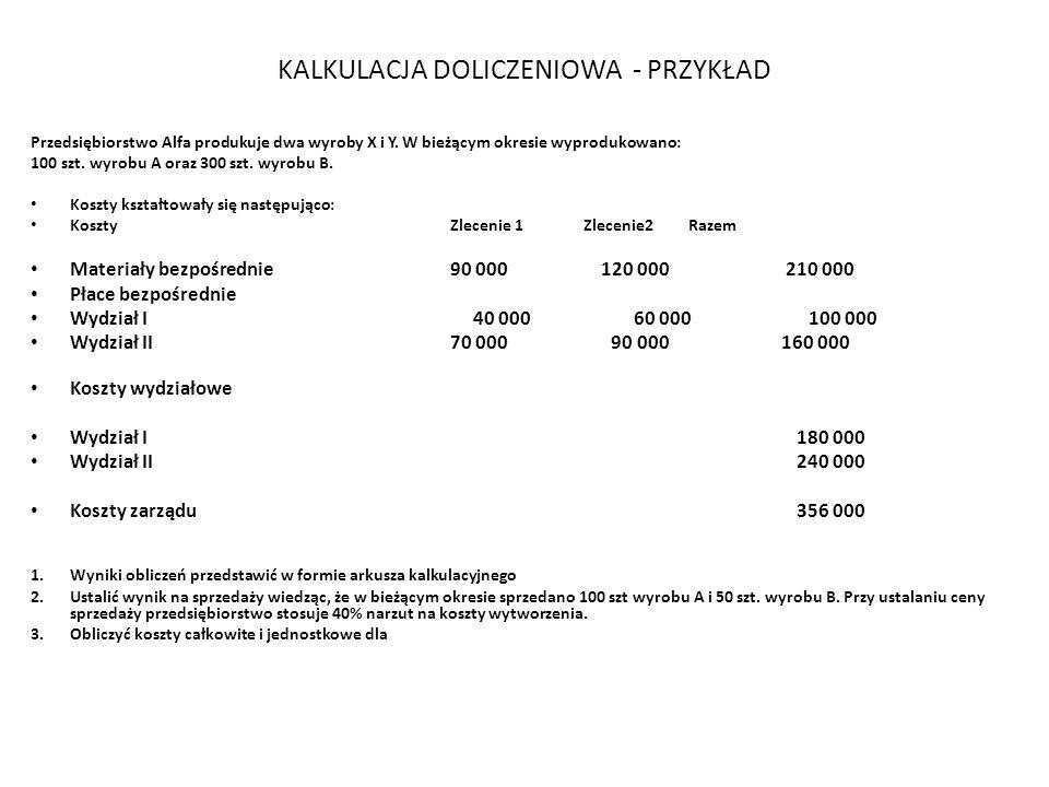KALKULACJA DOLICZENIOWA - PRZYKŁAD Przedsiębiorstwo Alfa produkuje dwa wyroby X i Y. W bieżącym okresie wyprodukowano: 100 szt. wyrobu A oraz 300 szt.