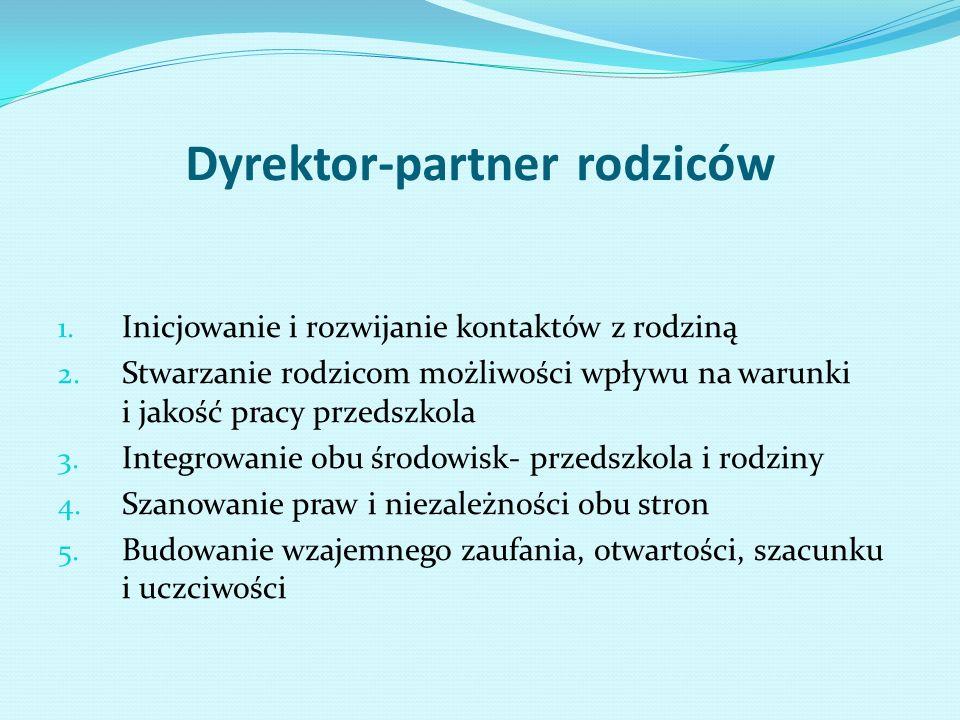 Dyrektor-partner rodziców 1. Inicjowanie i rozwijanie kontaktów z rodziną 2. Stwarzanie rodzicom możliwości wpływu na warunki i jakość pracy przedszko