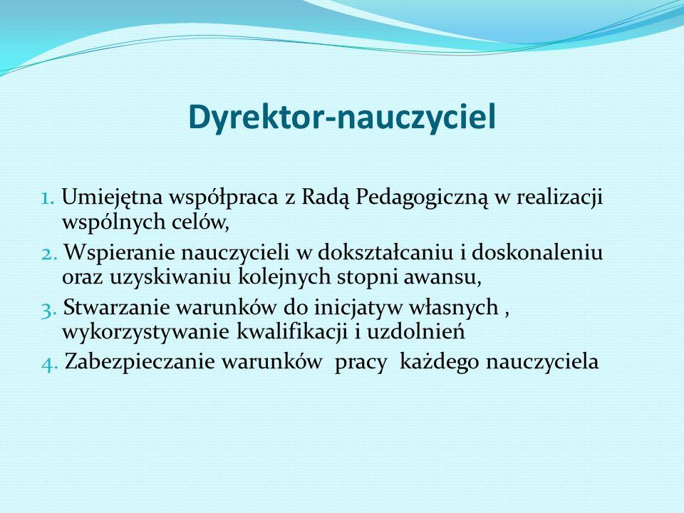 Dyrektor-nauczyciel 1. Umiejętna współpraca z Radą Pedagogiczną w realizacji wspólnych celów, 2.