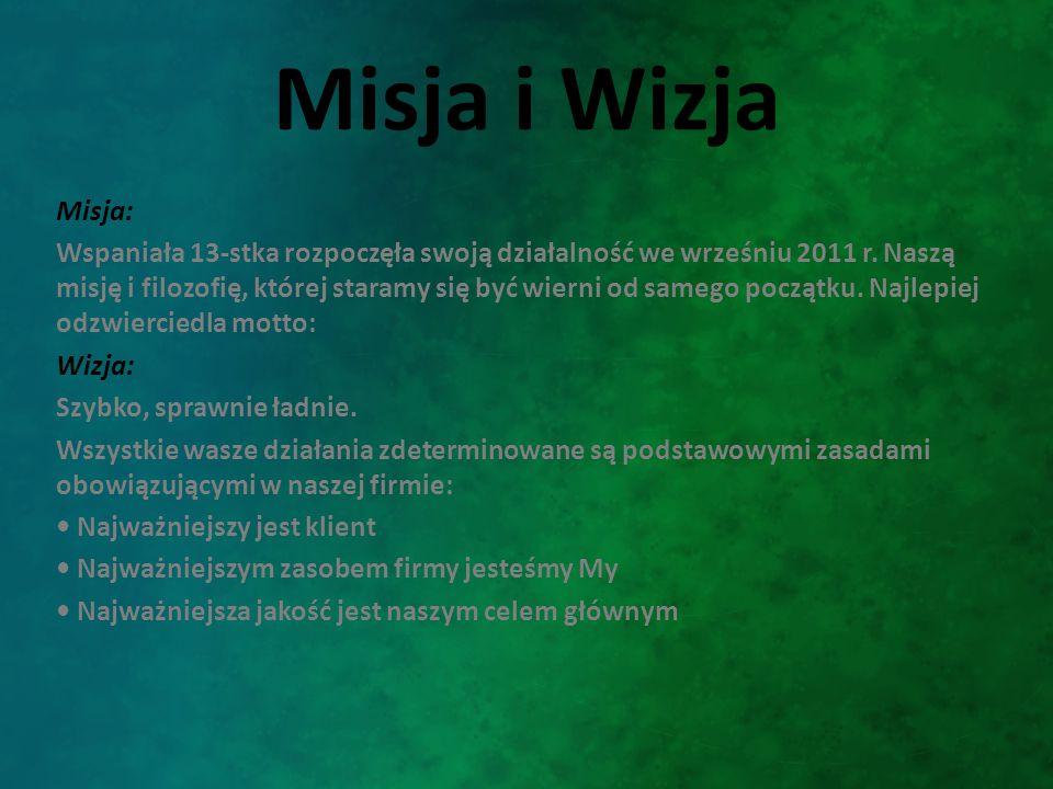 Misja i Wizja Misja: Wspaniała 13-stka rozpoczęła swoją działalność we wrześniu 2011 r. Naszą misję i filozofię, której staramy się być wierni od same