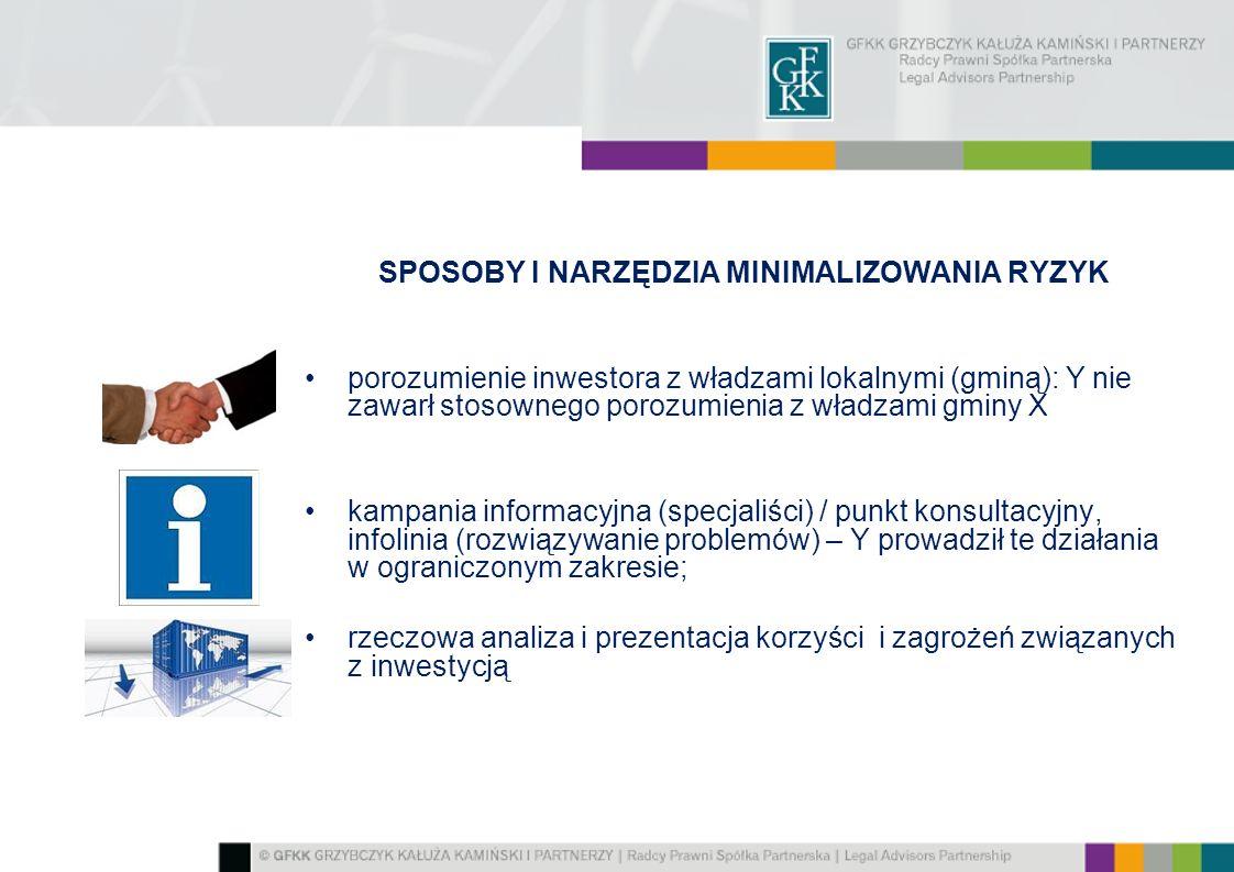 SPOSOBY I NARZĘDZIA MINIMALIZOWANIA RYZYK porozumienie inwestora z władzami lokalnymi (gminą): Y nie zawarł stosownego porozumienia z władzami gminy X