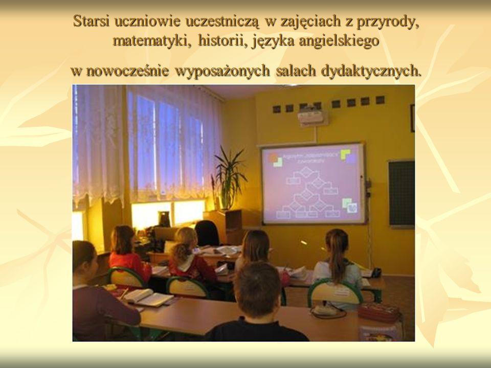Starsi uczniowie uczestniczą w zajęciach z przyrody, matematyki, historii, języka angielskiego w nowocześnie wyposażonych salach dydaktycznych.