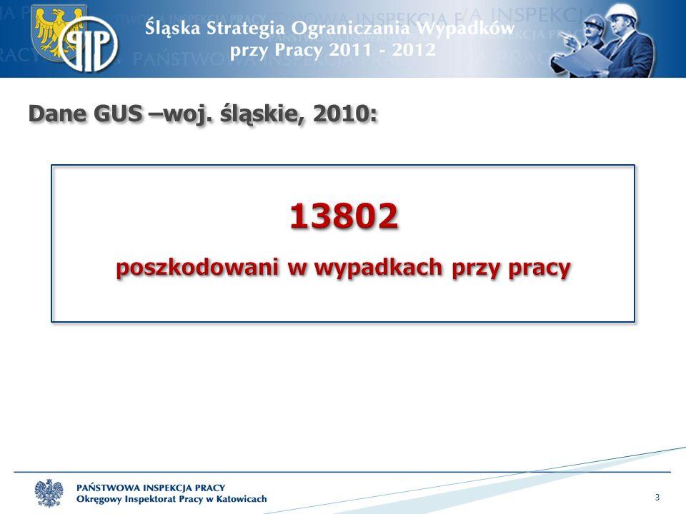 Dane OIP Katowice, 2010:  wypadki śmiertelne – 75  wypadki ciężkie - 124 4