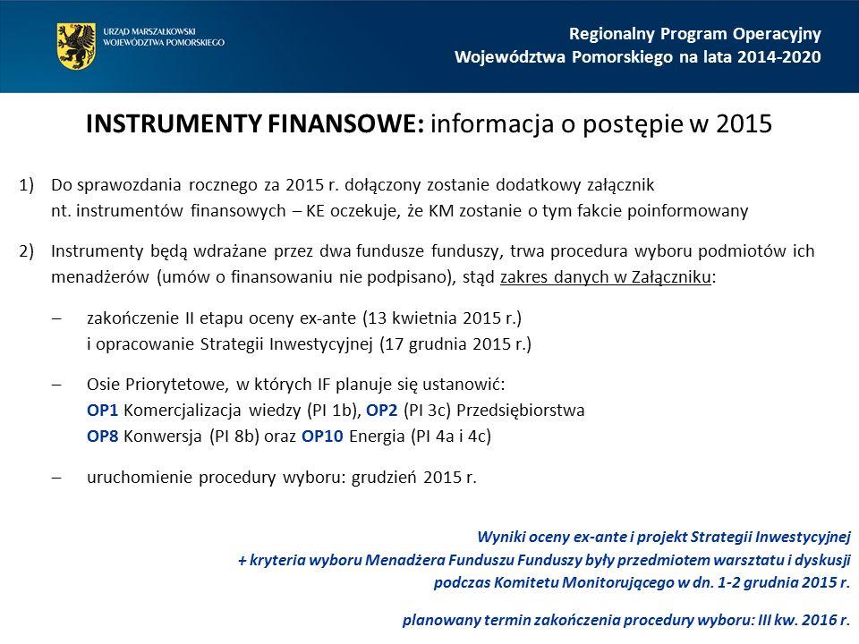 Regionalny Program Operacyjny Województwa Pomorskiego na lata 2014-2020 INSTRUMENTY FINANSOWE: informacja o postępie w 2015 1)Do sprawozdania rocznego za 2015 r.