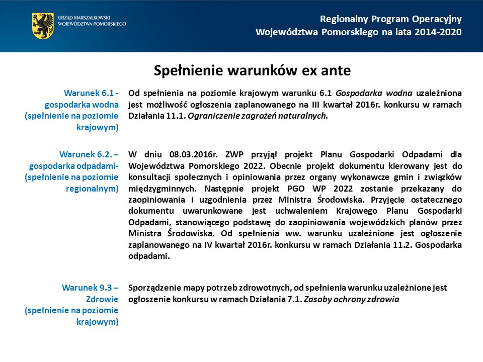 Regionalny Program Operacyjny Województwa Pomorskiego na lata 2014-2020 Warunek 6.1 - gospodarka wodna (spełnienie na poziomie krajowym) Od spełnienia na poziomie krajowym warunku 6.1 Gospodarka wodna uzależniona jest możliwość ogłoszenia zaplanowanego na III kwartał 2016r.