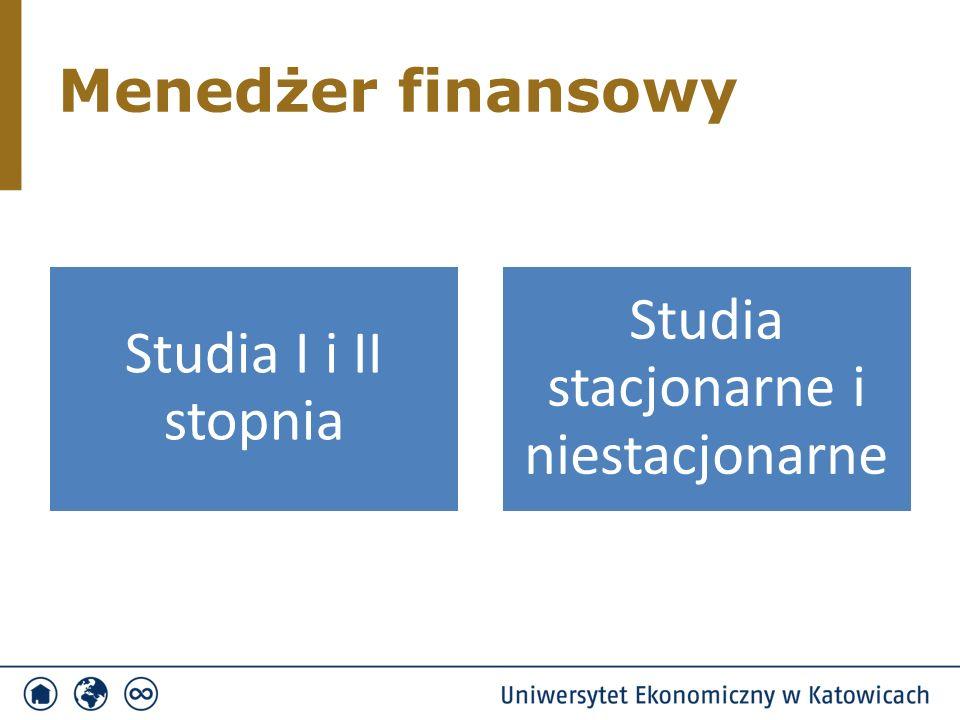 Menedżer finansowy Studia I i II stopnia Studia stacjonarne i niestacjonarne