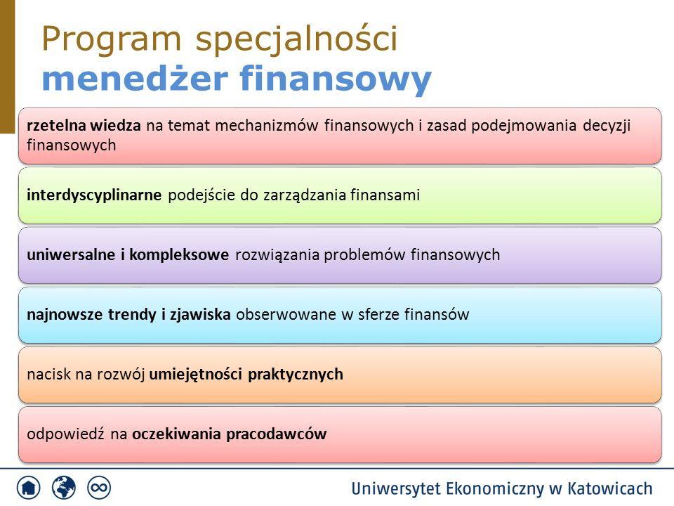 Program specjalności menedżer finansowy rzetelna wiedza na temat mechanizmów finansowych i zasad podejmowania decyzji finansowych interdyscyplinarne podejście do zarządzania finansamiuniwersalne i kompleksowe rozwiązania problemów finansowychnajnowsze trendy i zjawiska obserwowane w sferze finansównacisk na rozwój umiejętności praktycznychodpowiedź na oczekiwania pracodawców
