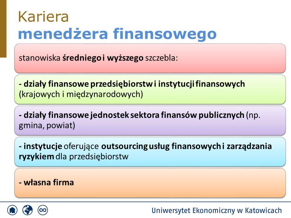Kariera menedżera finansowego stanowiska średniego i wyższego szczebla: - działy finansowe przedsiębiorstw i instytucji finansowych (krajowych i międzynarodowych) - działy finansowe jednostek sektora finansów publicznych (np.