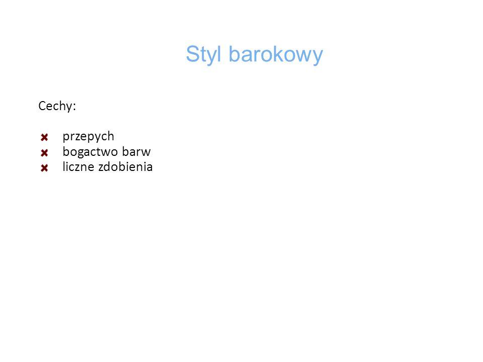 Styl klasycystyczny Cechy: nawiązanie do wzorców antycznych kolumny prostota symetryczność kształtu