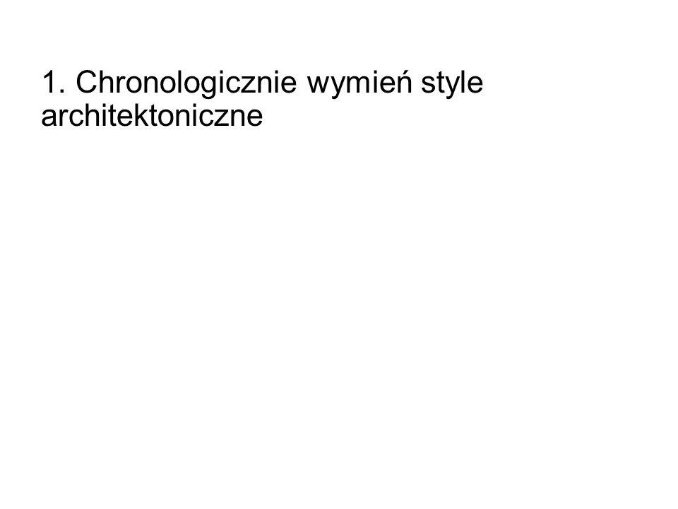 1. Chronologicznie wymień style architektoniczne
