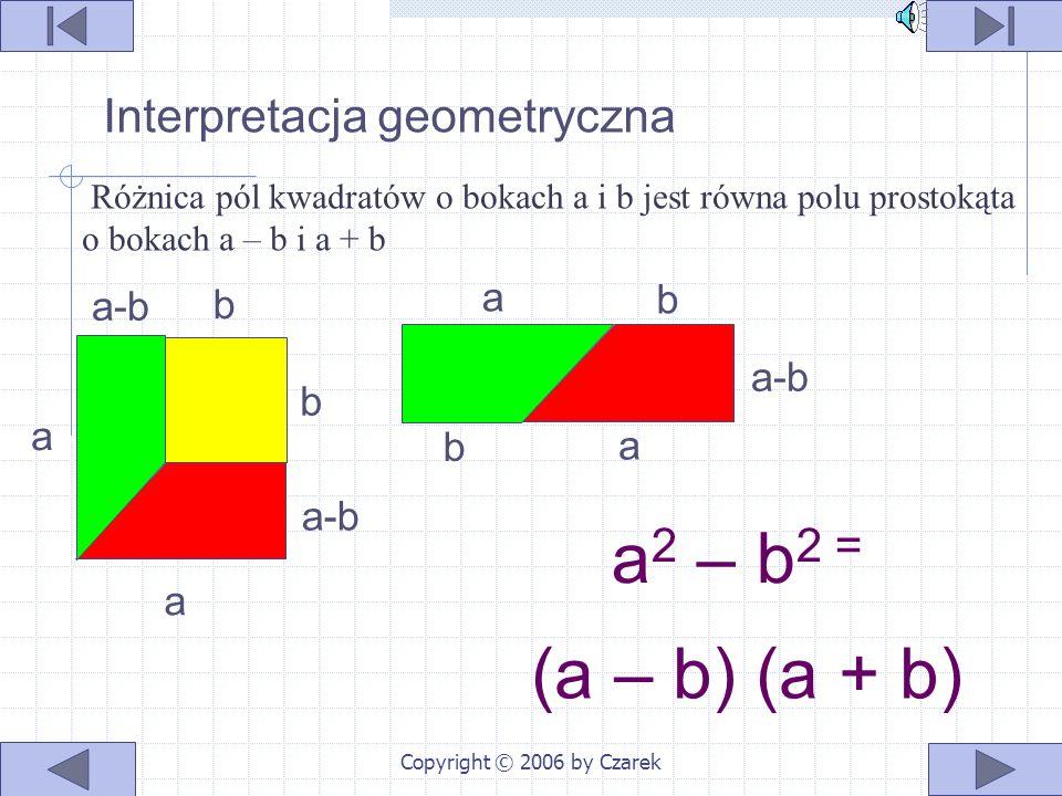 Copyright © 2006 by Czarek Wzór na różnicę kwadratów Interpretacja geometryczna Dowód Interpretacja słowna Przykłady Ćwiczenia