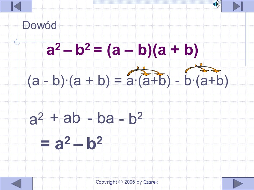 Copyright © 2006 by Czarek Interpretacja geometryczna Różnica pól kwadratów o bokach a i b jest równa polu prostokąta o bokach a – b i a + b a a a-b b