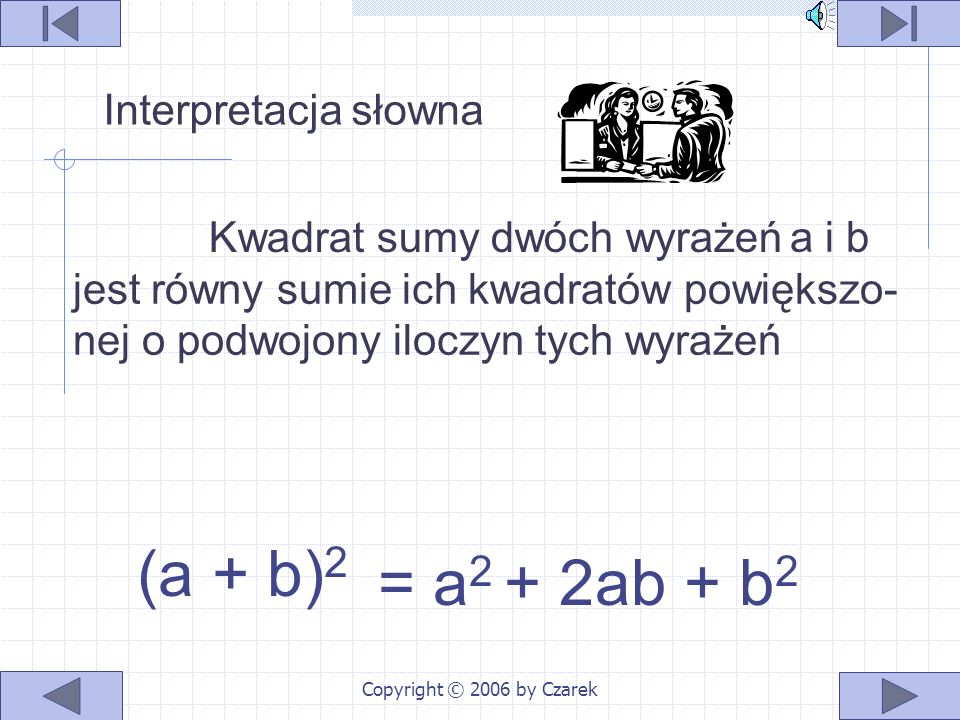 Copyright © 2006 by Czarek a i b jest równy sumie ich kwadratów powiększo- nej o podwojony iloczyn tych wyrażeń (a + b) 2 = a 2 + 2ab + b 2 Kwadrat sumy dwóch wyrażeń Interpretacja słowna