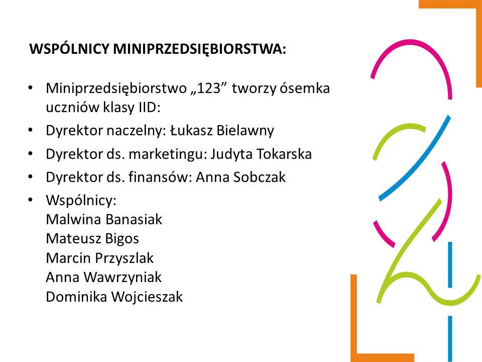 """WSPÓLNICY MINIPRZEDSIĘBIORSTWA: Miniprzedsiębiorstwo """"123"""" tworzy ósemka uczniów klasy IID: Dyrektor naczelny: Łukasz Bielawny Dyrektor ds. marketingu"""