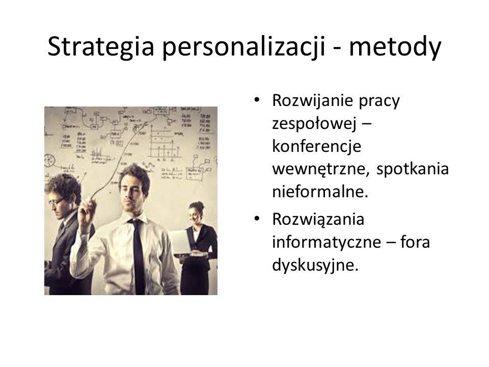 Strategia personalizacji - metody Zmiany strukturalne – transfery pracowników pomiędzy działami Rotacja stanowisk.