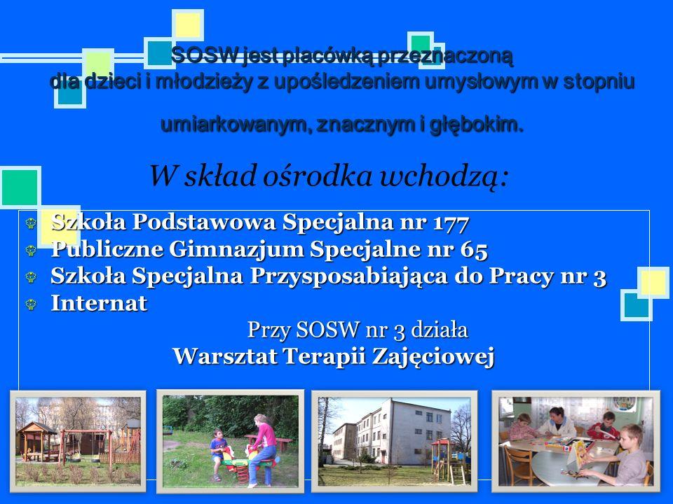 SOSW jest placówką przeznaczoną dla dzieci i młodzieży z upośledzeniem umysłowym w stopniu umiarkowanym, znacznym i głębokim. Szkoła Podstawowa Specja