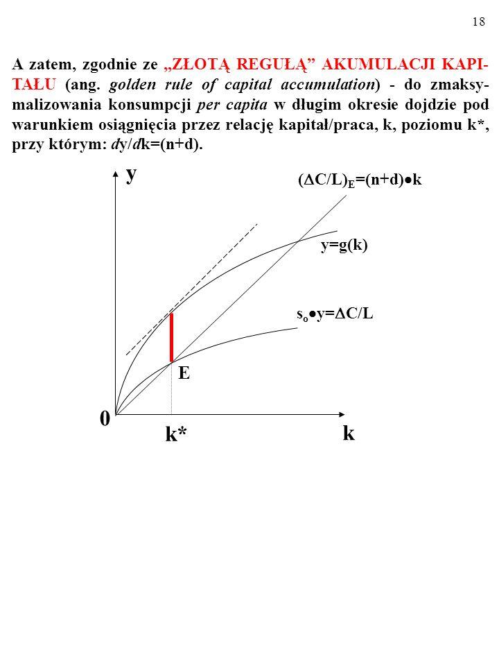 17 Taki, który zapewnia zmaksymalizowanie długości wiadomego odcinka (czyli konsumpcji per capita w momencie wejścia na ścieżkę wzrostu zrównowaonego).