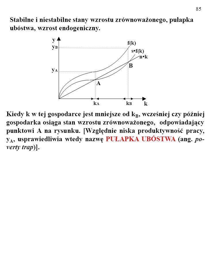 85 Kiedy k w tej gospodarce jest mniejsze od k B, wcześniej czy później gospodarka osiąga stan wzrostu zrównoważonego, odpowiadający punktowi A na rysunku.