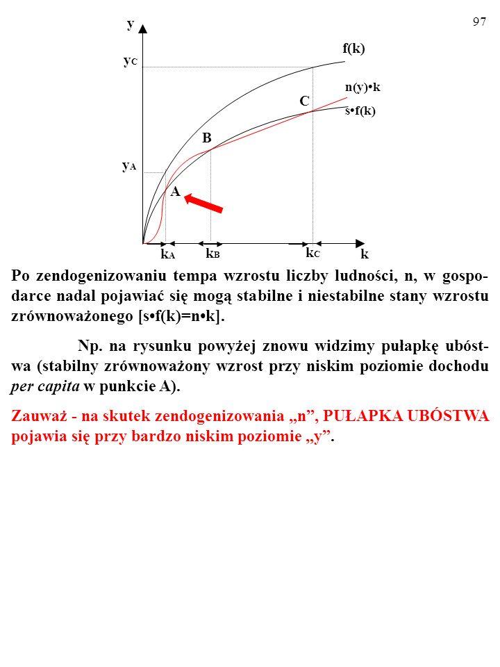 96 Po zendogenizowaniu tempa wzrostu liczby ludności, n, w gospo- darce nadal pojawiać się mogą stabilne i niestabilne stany wzrostu zrównoważonego [sf(k)=nk].