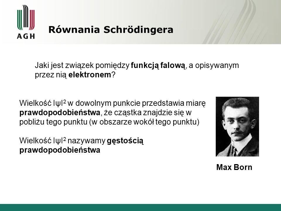 Równania Schrödingera Jaki jest związek pomiędzy funkcją falową, a opisywanym przez nią elektronem? Wielkość IψI 2 w dowolnym punkcie przedstawia miar