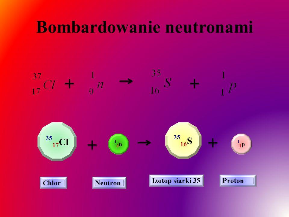 Bombardowanie neutronami 35 17 Cl 10n10n 35 16 S ChlorNeutron Izotop siarki 35Proton 11p11p