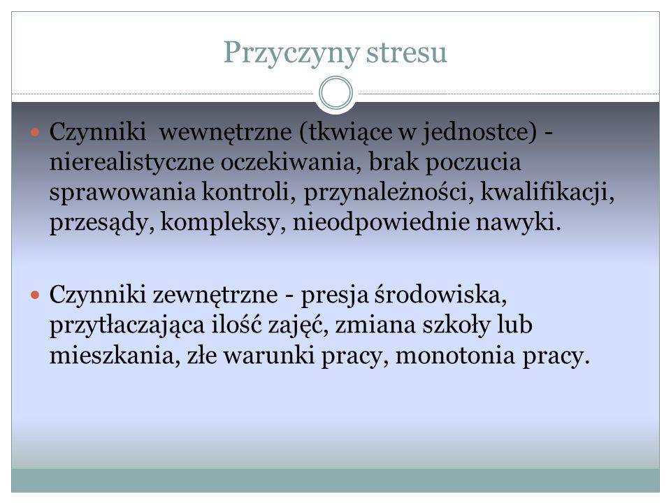 Objawy stresu: Są skutkiem zwiększonego wydzielania adrenaliny, pojawiają się zazwyczaj w sytuacji fizycznego zagrożenia.
