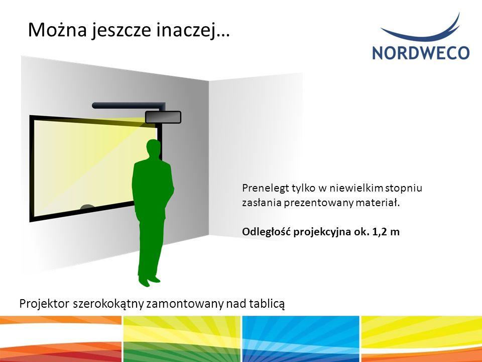 Projektor szerokokątny zamontowany nad tablicą Można jeszcze inaczej… Prenelegt tylko w niewielkim stopniu zasłania prezentowany materiał. Odległość p
