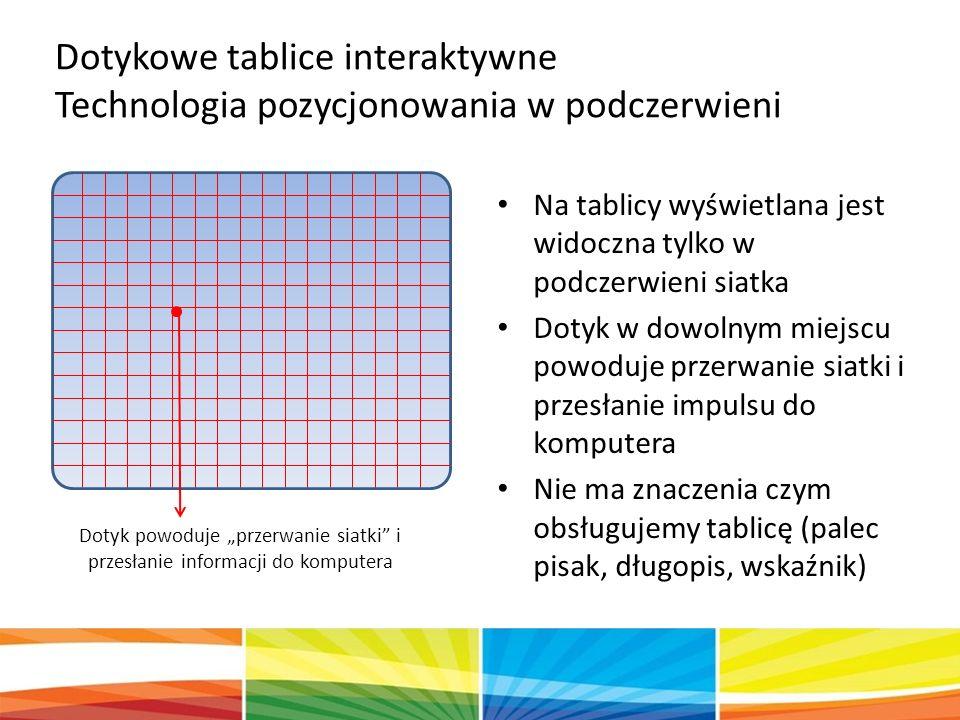 """Na tablicy wyświetlana jest widoczna tylko w podczerwieni siatka Dotyk w dowolnym miejscu powoduje przerwanie siatki i przesłanie impulsu do komputera Nie ma znaczenia czym obsługujemy tablicę (palec pisak, długopis, wskaźnik) Dotyk powoduje """"przerwanie siatki i przesłanie informacji do komputera Dotykowe tablice interaktywne Technologia pozycjonowania w podczerwieni"""